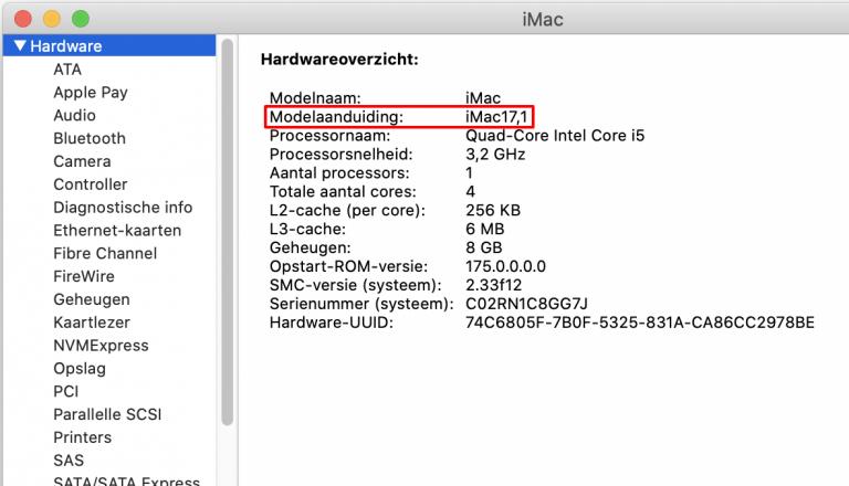 iMac Modelaanduiding vinden